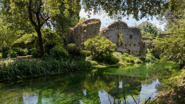 The exquisite garden dates back to the late 19th century when the aristocratic Caetani family took over lands deserted for centuries including Ninfa, a town that was abandoned in the Middle Ages. Photo: AFP