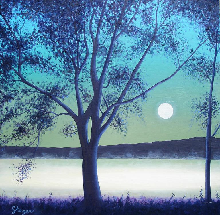 Painting 'Moonlit Tree - Spring' by Lora Marsh - available for purchase - see hereunder http://images.fineartamerica.com/images-medium-large/moonlit-tree--spring-lora-marsh.jpg