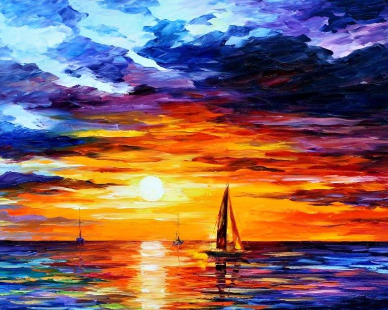Sailboats_at_sunset_art_wallpaper