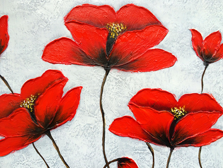 Original-Handpainted-On-Canvas-Beautiful-Red-Flower-Acrylic-Palette-Knife-Painting-Modern-Abstract-Art-Oil-Painting