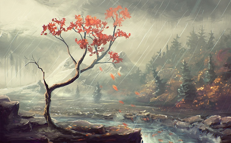 rain-winter-painting-stream-forest-nature-mountain