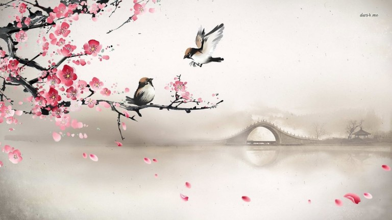 16007-sparrows-on-the-cherry-tree-1366x768-artistic-wallpaper