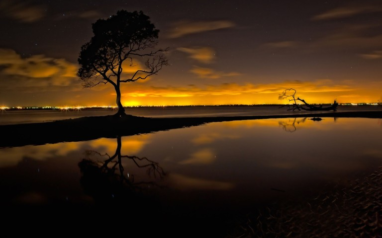 Clouds-Lake-Night-sky-sunset-Tree