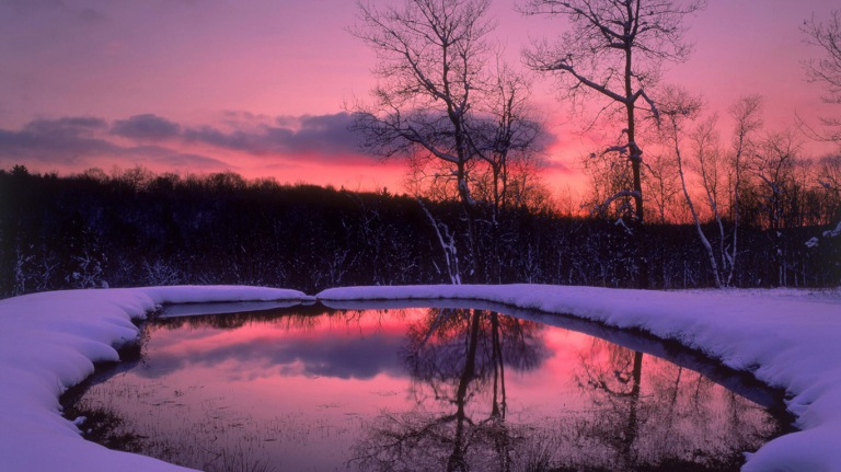 Winter sunset wallpaper 01 1366x768