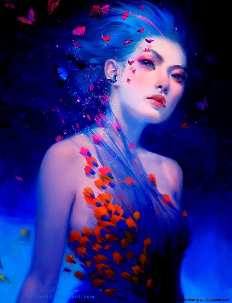 illustration-art-girl-face-painting-flowers-woman-butterflies-bao