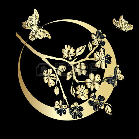 41985059-gold-twig-sakura-and-butterfly-are-on-black-background-vector-illustration