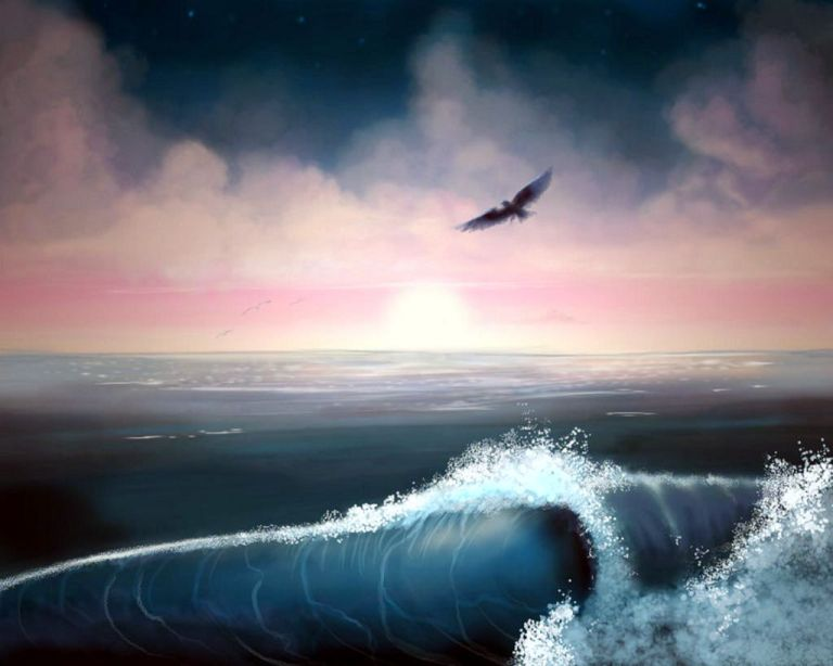 the_sea_mystic_bird_clouds_waves_artwork_hd-wallpaper-1915326