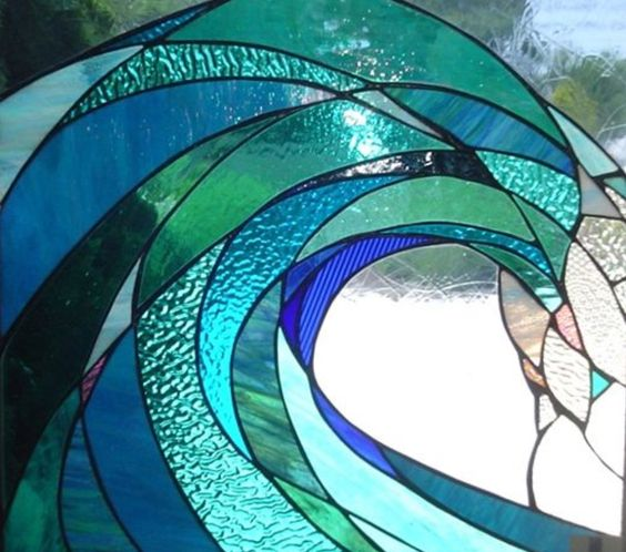 Stained glass wave by Mary Tantillo of SwellColors Glass Studio